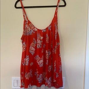 Coral Sheer Camisole with Flower Detail